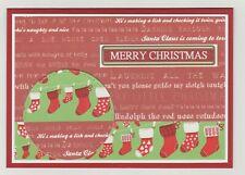 Blank Handmade Greeting Card  MERRY CHRISTMAS with CHRISTMAS SAYINGS & STOCKINGS