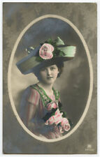 c 1910 Vintage Glamour PRETTY YOUNG LADY Strange Hat Fashion photo postcard