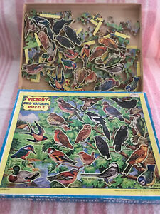 Vintage 1960 Victory Wooden Cut Bird Watching Puzzle by G.J.Hayter 80pc.