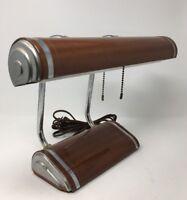 GE Art Deco Metal Desk Lamp Vintage Florescence 2 Chain Pull Metal (17-2619)