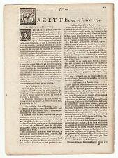 1754 jan.26,Original French Gazette # 4, Baye de Hudson, Gen. Hopson, America