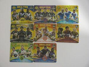 8x NRL Tazos Gold Trio - Titans, Broncos, Storm, Cowboys, Warriors, Raiders plus