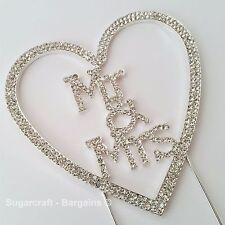 MR & MRS DIAMANTÉ WEDDING CAKE TOPPER, ANNIVERSARY, BRIDE, CRAFT,