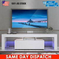 "43"" High Gloss TV Stand Unit Cabinet w/ LED Lights Shelves Living Room Furniture"