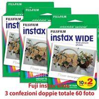 Fuji instax wide 3 confezioni doppie 60 Foto Per fujifilm Instax 210 300 100 ecc