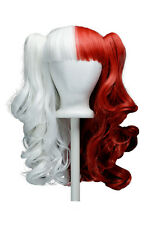 20'' Lolita Wig + 2 Pig Tails Set Half Scarlet Red Snow White Split Gothic Sweet