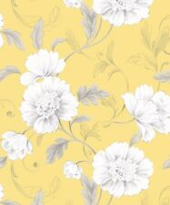 Feature Flower Floral Leaf Trail Yellow. Rasch Boutique Wallpaper 226164