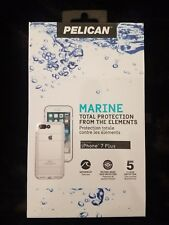 New! Pelican Marine Waterproof Case for iPhone 7 Plus / 8 Plus White Clear