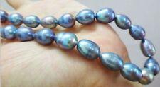 "Wonderful 8-9mm baroque tahitian black blue pearl necklace 18"""
