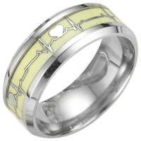 Luminous Ecg Ring Stainless Steel Ring Promise Heartbeat Ring Glowing Jewel T1H8