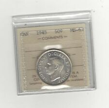 1945 , ICCS Graded Canadian Silver 50 Cent, **MS-63**