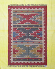 4x6 FT Rectangle Floral Area Rug Living Room Hand Woven Tribal Kilim Jute Wool
