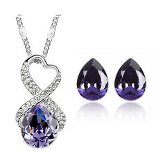 Purple Crystal Heart and Teardrops Jewellery Set Stud Earrings & Necklace S450