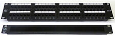 "Cat6 19"" 48 Port Patch Panel + Brush Cable Tidy Comms Rack Data Network Cabinet"