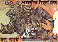 INDE billet neuf de 10 RUPPEES  GANDHI Pick89c TIGRE ELEPHANT RHINOCEROS 1996