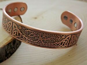 Solid Copper Magnetic Bracelet Arthritis Pain Therapy Energy Cuff Tree Of Life