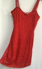 Vintage Sexy Red Sequin Dress Size 6 Niteline By Della Roufogali Stage Costume