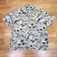Hawaiian Button Front Shirt  XXL Beige Brown 2XL  Island Theme Palm Trees Aloha