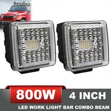 800W 4Inch 2PCS CREE LED Work Lights Pod Spot Flood Combo Offroad Driving Light