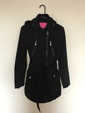 BETSEY Johnson Fit Flare RainCoat Windbreaker Thin Trench Outerwear Black Pink S