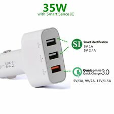 Selectec 35W 3-Port USB Car Charger w/Qualcomm Quick Charge 3.0 for Samsung