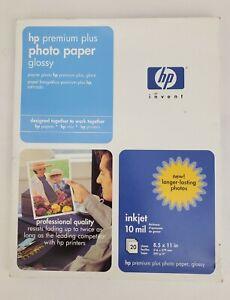 "HP Invent Premium Plus Photo Paper Glossy 8.5"" x 11"" 20 Sheets 10 mil inkjet"