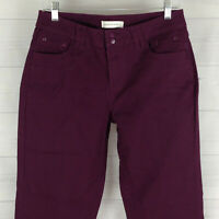 Christopher & Banks Womens Sz 4 Stretch Solid Purple Mid Rise Straight Jeans LNC
