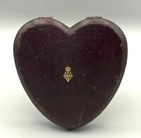 Antique Victorian Heart-Shaped Brown Leather Sewing Set Push Button