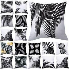 Tropical Almohadón Funda Cubierta para Cojín Negro Blanco Hojas De Plantas Decoración del hogar