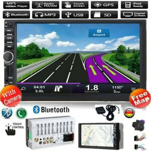 "7"" AUTORADIO mit GPS Navigation NAVI BLUETOOTH USB TF DOPPEL 2DIN MP5 + EU Karte"