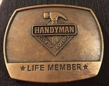 Handyman Club of America Life Member Belt Buckle 1996 Brass Scout Scouting Fixit