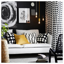"New Ikea KLARASTINA Black and White Curtains 1 pair 57x98 "" 145x250 cm"