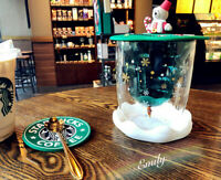 2020 Starbucks Lid + Wishing Cup 8.5OZ Double Wall Glass Mug Christmas Cup Suit