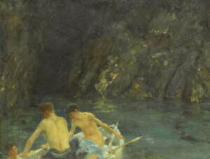 Henry Scott Tuke The cavern Poster Reproduction Paintings Giclee Canvas Print