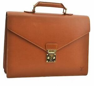 Authentic Louis Vuitton Epi Serviette Conseiller Brown Briefcase LV A7253