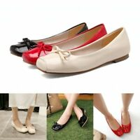 Womens Bowknot Patent Leather Slip On Loafers Ballet Flats Pumps Casual Shoes