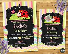 LADYBUG INVITATIONS PERSONALISED 1ST FIRST BIRTHDAY PARTY INVITE GARDEN LADYBIRD