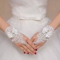 Elegant Bridal Wedding Lace Bow Fingerless Gloves for Wedding Party Costume