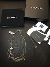 Rare NIB New CHANEL Dangling CC Multi Strands Gold Chain Pendent Charm Necklace