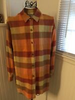 Women's Coldwater Creek Size S Small Multi-Color Red Orange Linen Blend Top