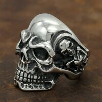 Men's Huge Gothic Punk Skull Skeleton SS 316L Stainless Steel Rocker Biker Ring