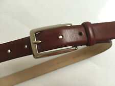 "Via Spiga burgundy genuine Italian leather belt 30""- 34"" x 1"" wide chrome buckle"