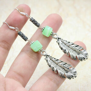 """Green Opal Feather 925 Silver Plated Handmade Gemstone Earrings 3"""" Ethnic Gift"""