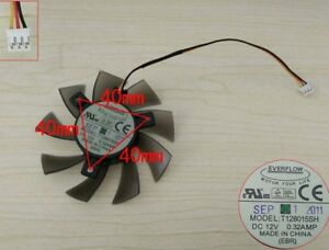 New EVERFLOW T128015SH Graphics Card Cooler Fan 12V 0.32A 3Wire 3-Pin EBR 76mm