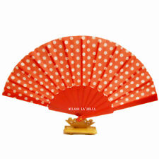 Red Spot Strong Fabric Hand Held Plastic PVC Fan Wedding Party Prop