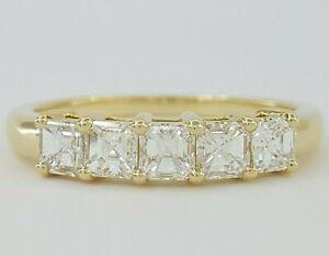 RITANI 1 ct 18K Yellow Gold 5 Five Stone Asscher Cut Diamond Ring Rtl $3,830