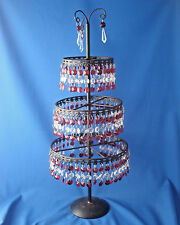 "3 tier red glass prism drop bead 22"" table top tree centerpiece vintage"