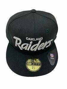 Oakland Raiders Black/Silver Script NFL Fitted 7 3/8 Hat - New era 1