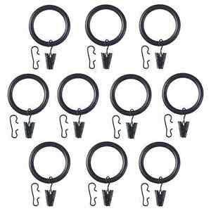 SYRLIG Curtain ring with clip and hook, Black, 25 mm