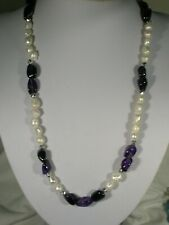 "20"" Pearl & Amethyst  Bead Necklace"